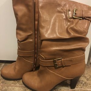 Camel colored leather boots